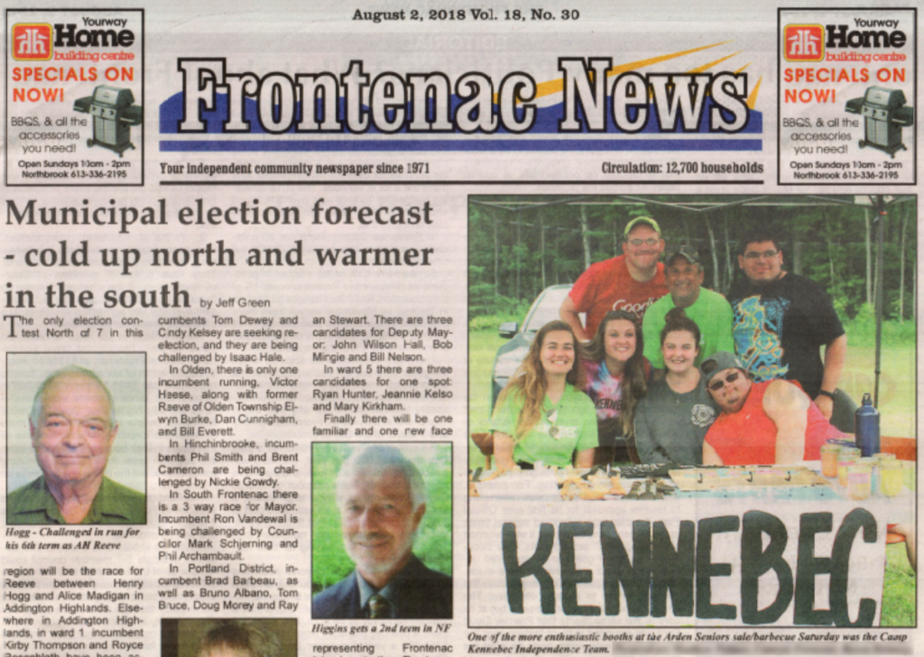 Camp Kennebec's KIT Program Is Front Page News in Arden